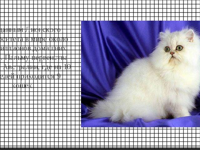 По данным Лионского университета в мире около 400 миллионов домашних кошек. П...