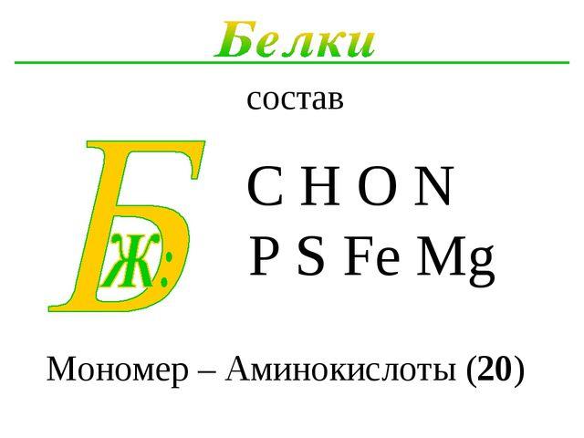 состав Мономер – Аминокислоты (20)