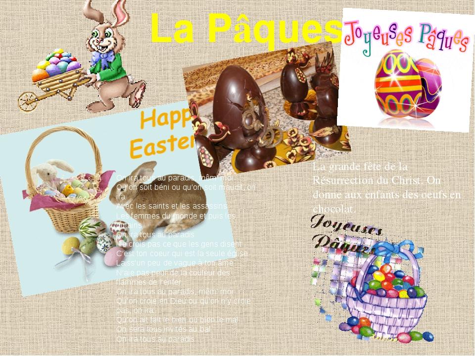 La Pâques La grande fête de la Résurrection du Christ. On donne aux enfants d...