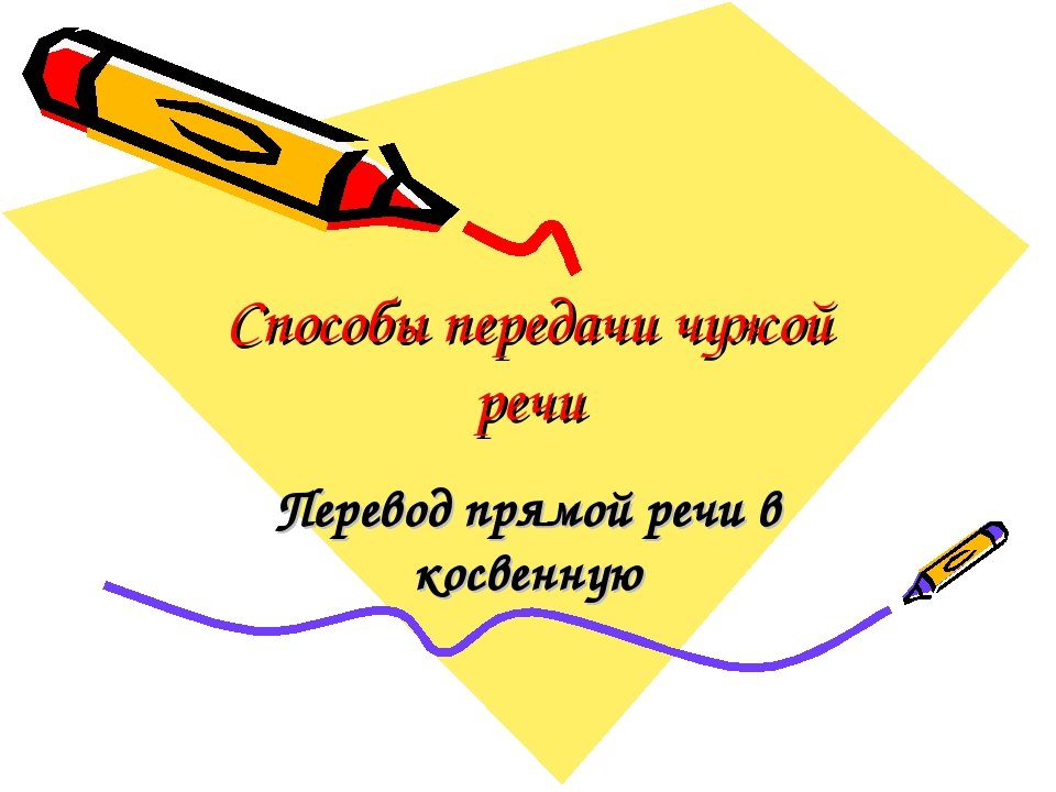 Способы передачи чужой речи Перевод прямой речи в косвенную