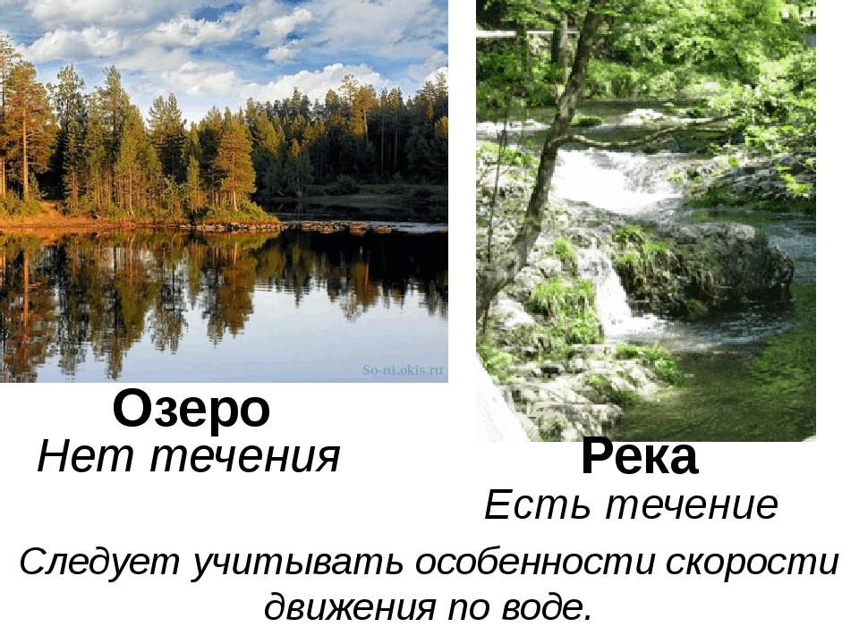Озеро Река Нет течения Есть течение Следует учитывать особенности скорости дв...