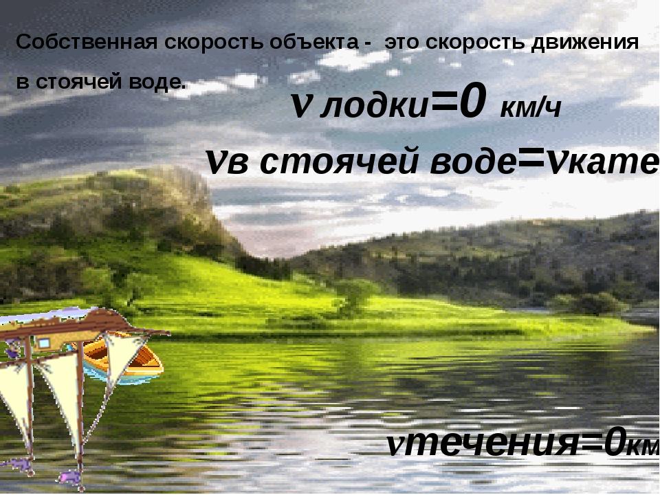 Собственная скорость объекта - это скорость движения в стоячей воде. vтечения...