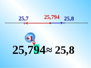 25,794 25,7 25,8 25,794 ≈ 25,8 +1