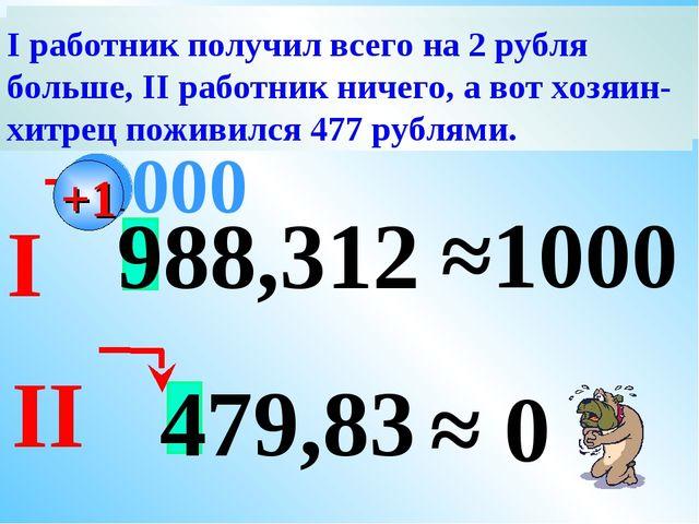 988,312 ≈1000 000 479,83 ≈ 0 +1 Хитрый хозяин предложил двум работникам округ...