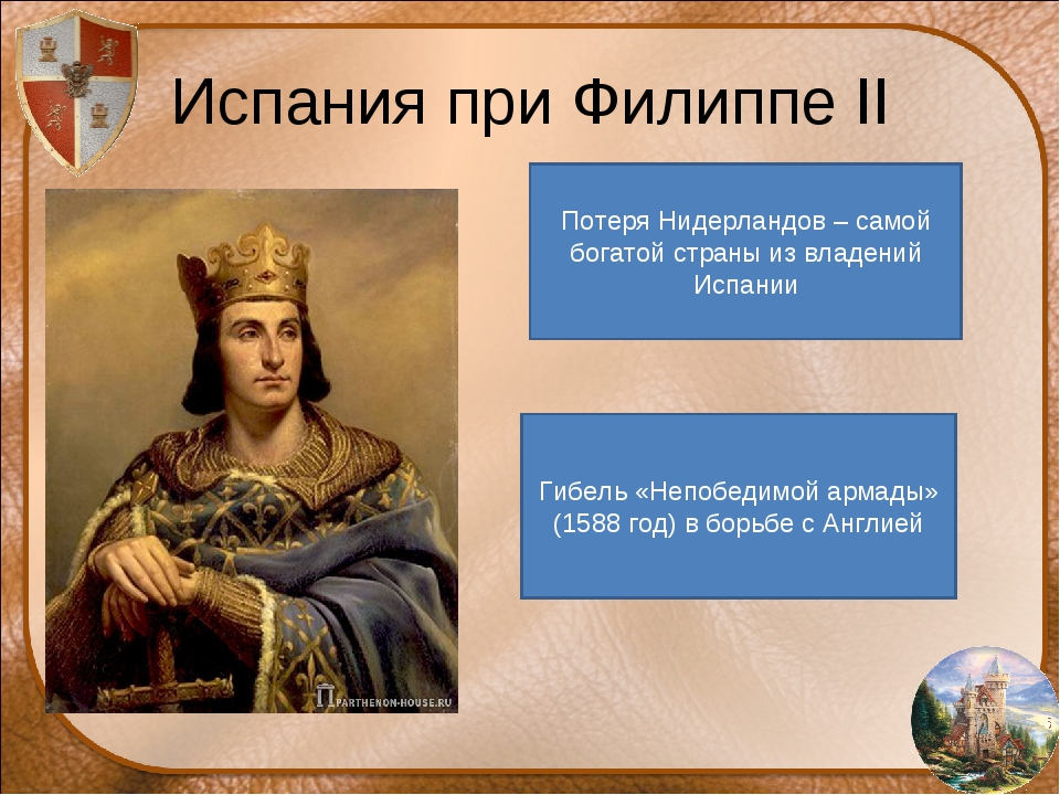 Испания при Филиппе II Потеря Нидерландов – самой богатой страны из владений...