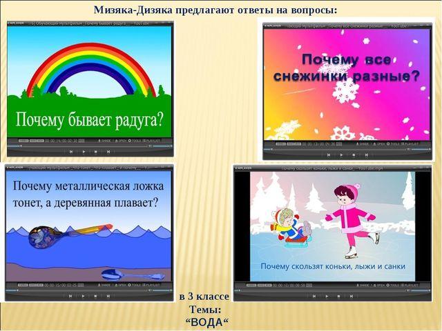 """в 3 классе Темы: """"ВОДА"""" Мизяка-Дизяка предлагают ответы на вопросы:"""