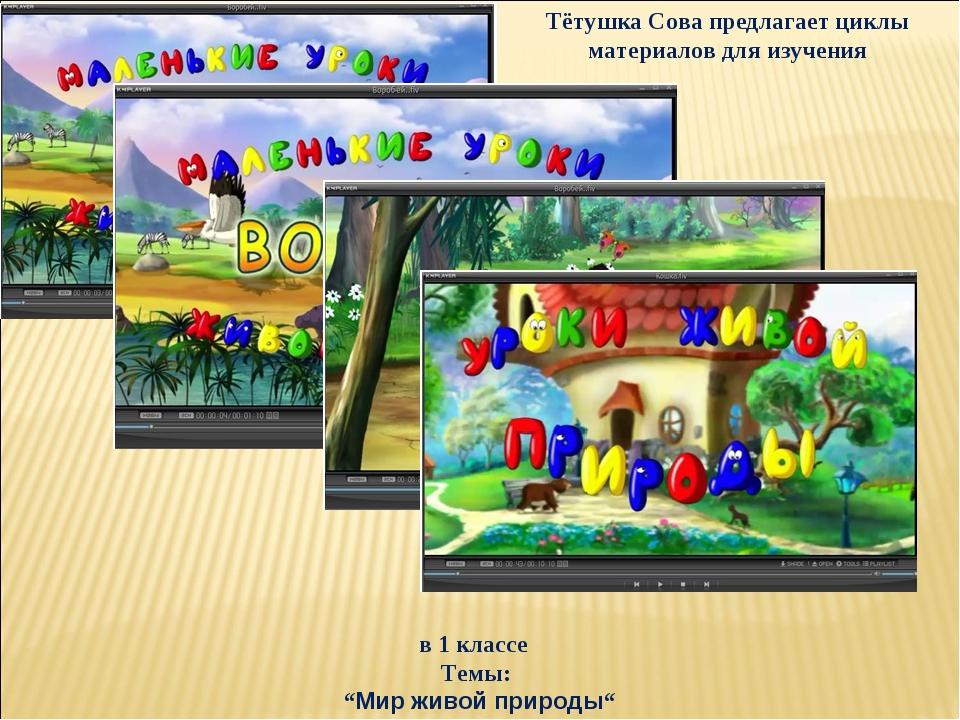 """в 1 классе Темы: """"Мир живой природы"""" Тётушка Сова предлагает циклы материалов..."""
