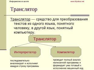 Транслятор Транслятор — средство для преобразования текстов из одного языка,