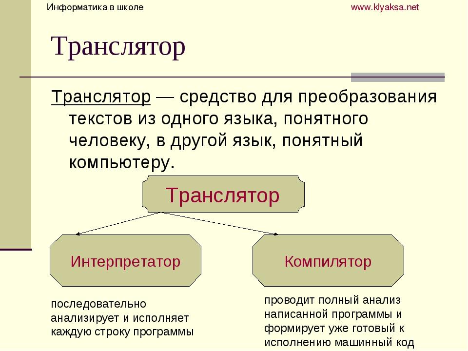 Транслятор Транслятор — средство для преобразования текстов из одного языка,...