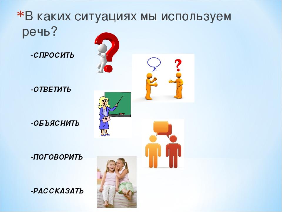 В каких ситуациях мы используем речь? -СПРОСИТЬ -ОТВЕТИТЬ -ОБЪЯСНИТЬ -ПОГОВОР...