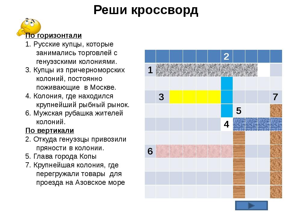Реши кроссворд По горизонтали 1. Русские купцы, которые занимались торговлей...
