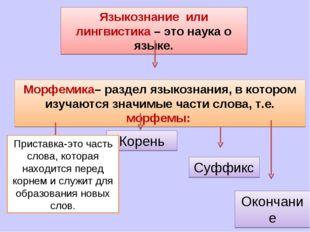 Языкознание или лингвистика – это наука о языке. Морфемика– раздел языкознани