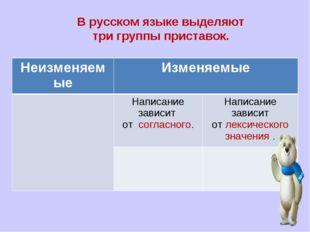 В русском языке выделяют три группы приставок. НеизменяемыеИзменяемые Напи