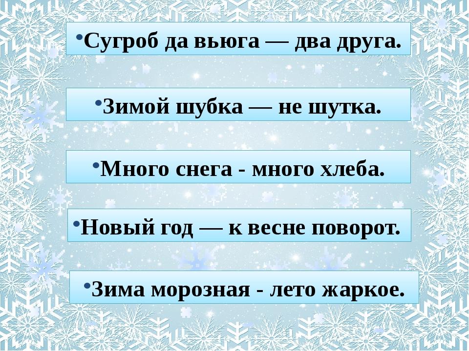 Сугроб да вьюга — два друга. Зимой шубка — не шутка. Много снега - много хлеб...