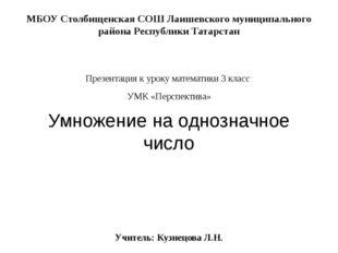МБОУ Столбищенская СОШ Лаишевского муниципального района Республики Татарстан