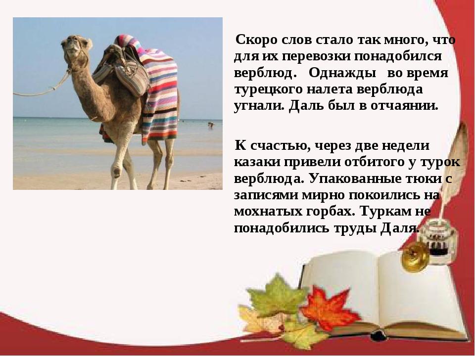 Скоро слов стало так много, что для их перевозки понадобился верблюд. Однажд...
