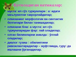 Кутиладиган натижалар: мустақил сўз туркумлари ҳақидаги маълумотни такрорлайд