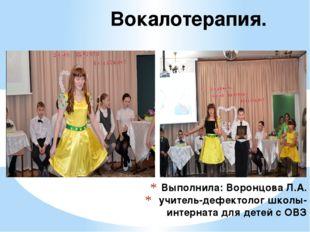 Выполнила: Воронцова Л.А. учитель-дефектолог школы-интерната для детей с ОВЗ