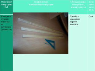Описаниеоперации №1 Графическое изображение операции Оборудование, материалы,