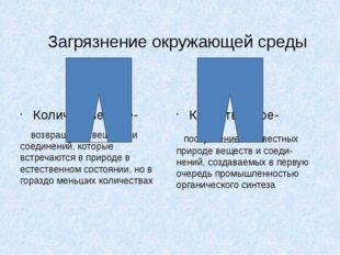 Загрязнение окружающей среды Количественное- возвращение веществ и соединений