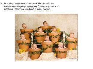 В 3 «Б» 12 горшков с цветами. На окнах стоит папоротник и цветут три розы. Ск