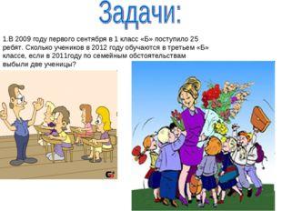 В 2009 году первого сентября в 1 класс «Б» поступило 25 ребят. Сколько ученик