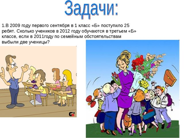 В 2009 году первого сентября в 1 класс «Б» поступило 25 ребят. Сколько ученик...