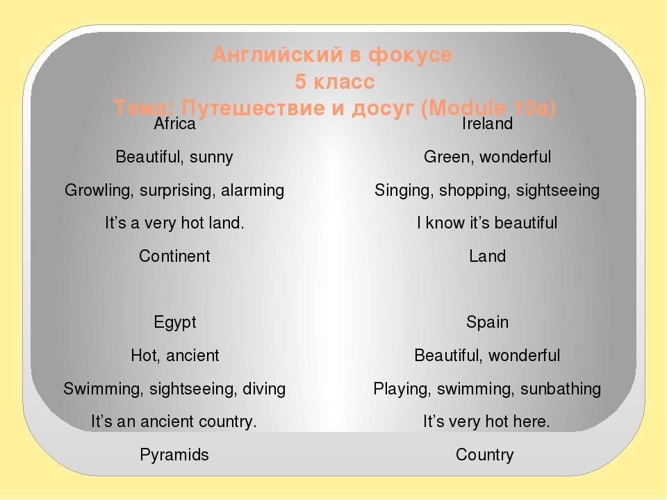 Английский в фокусе 5 класс Тема: Путешествие и досуг (Module 10а) Africa Bea...