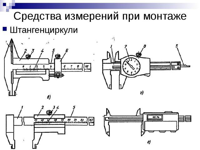 Средства измерений при монтаже Штангенциркули
