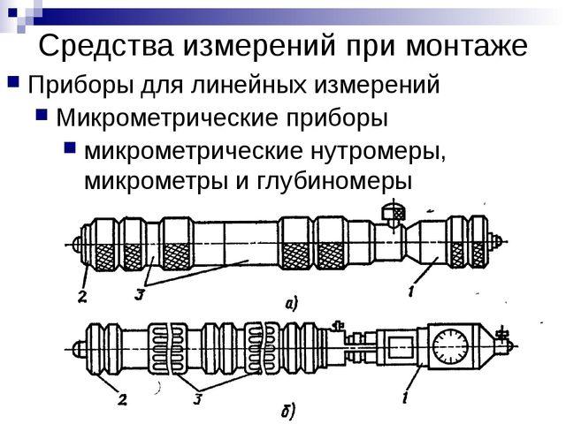 Средства измерений при монтаже Приборы для линейных измерений Микрометрически...