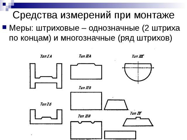 Средства измерений при монтаже Меры: штриховые – однозначные (2 штриха по кон...