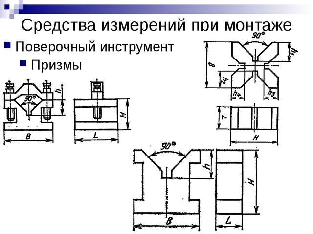 Средства измерений при монтаже Поверочный инструмент Призмы