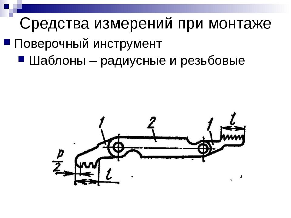 Средства измерений при монтаже Поверочный инструмент Шаблоны – радиусные и ре...
