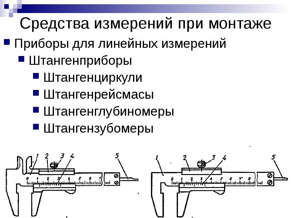 Средства измерений при монтаже Приборы для линейных измерений Штангенприборы...