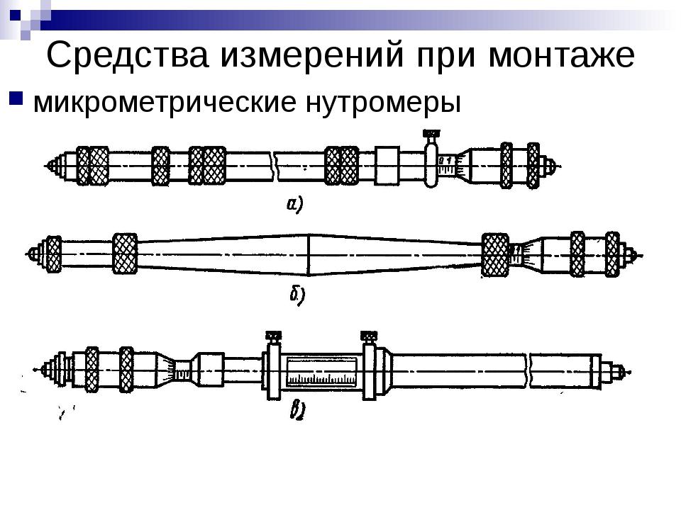 Средства измерений при монтаже микрометрические нутромеры