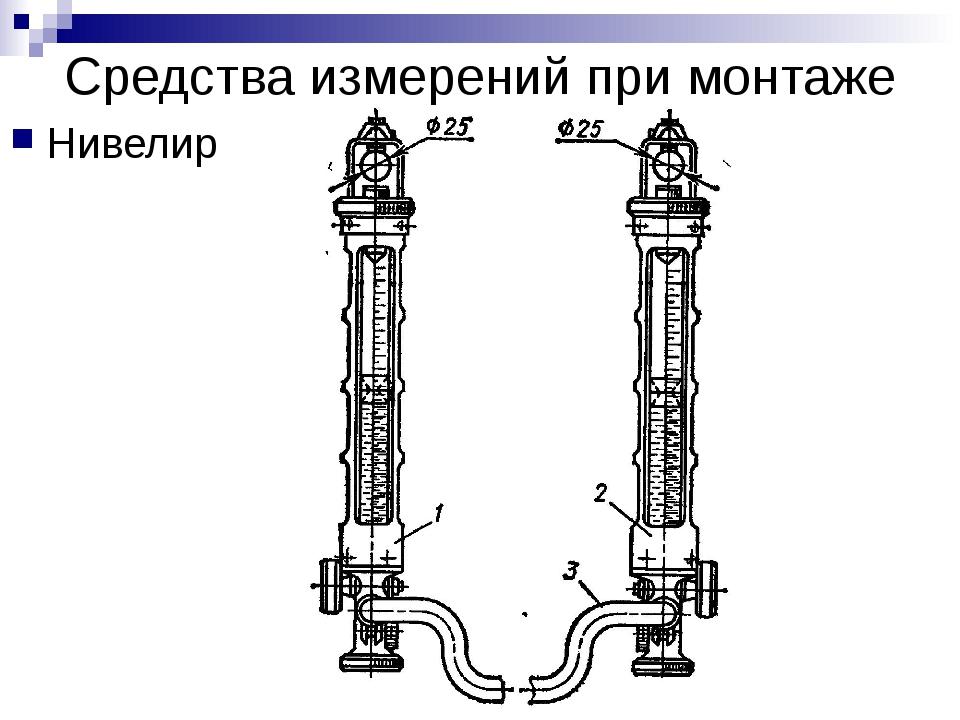 Средства измерений при монтаже Нивелир