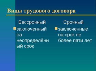 Виды трудового договора Бессрочный заключенный на неопределённый срок Срочный