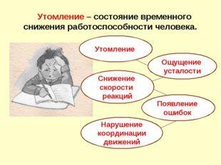 Утомление – состояние временного снижения работоспособности человека. Утомле