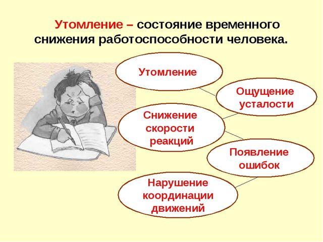 Утомление – состояние временного снижения работоспособности человека. Утомле...