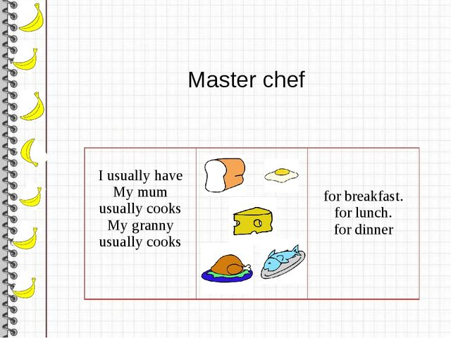 Master chef I usually have Mymum usually cooks My granny usually cooks for b...