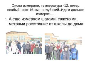 Снова измерили: температура -12, ветер слабый, снег 16 см, неглубокий..Идем д