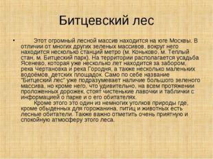 Битцевский лес  Этот огромный лесной массив находится на юге Москвы. В