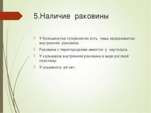 5.Наличие раковины У большинства головоногих есть лишь недоразвитая внутрення