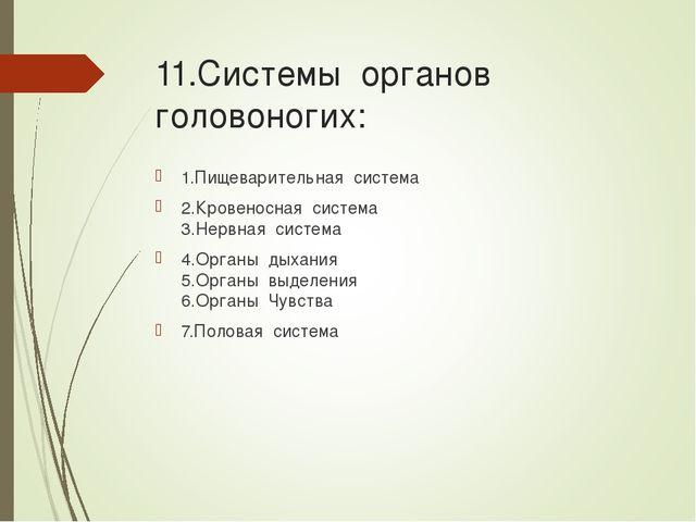 11.Системы органов головоногих: 1.Пищеварительная система 2.Кровеносная систе...