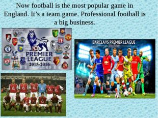 Now football is the most popular game in England. It's a team game. Professio