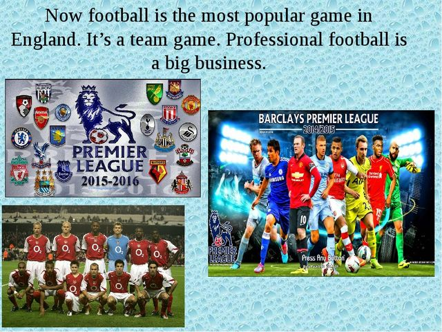 Now football is the most popular game in England. It's a team game. Professio...