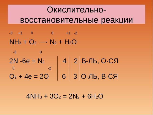 Окислительно- восстановительные реакции -3 +1 0 0 +1 -2 NH3 + O2 N2 + H2O -3...
