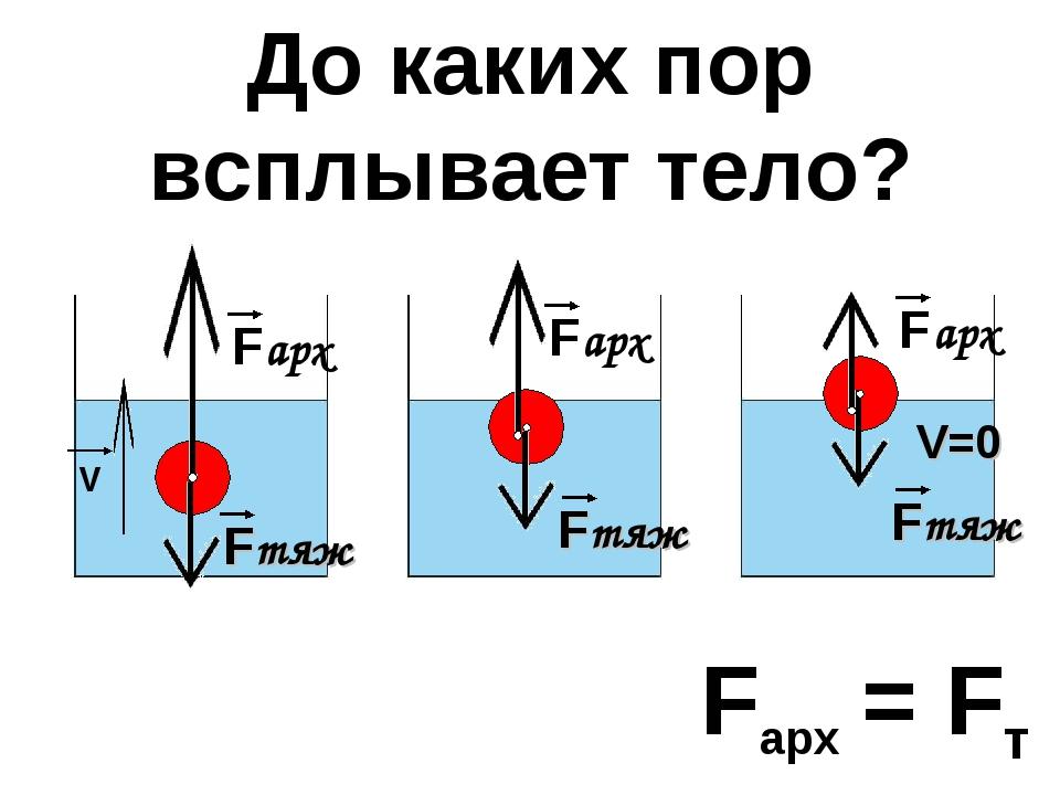 Fтяж Fтяж Fтяж Fарх = Fт До каких пор всплывает тело? V V=0
