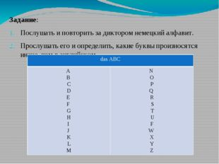 Задание: Послушать и повторить за диктором немецкий алфавит. Прослушать его и