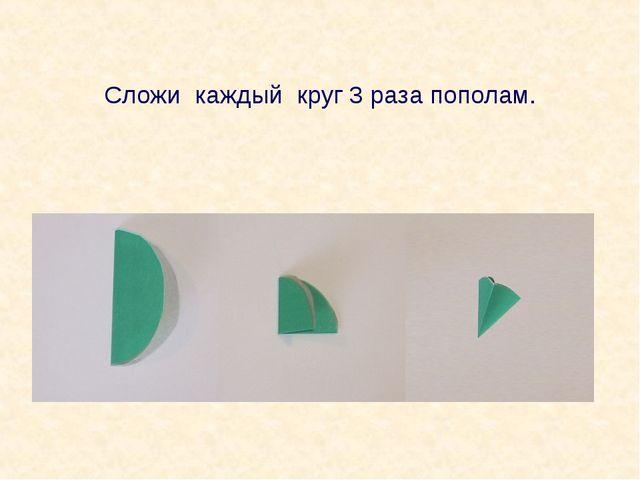 Сложи каждый круг 3 раза пополам.